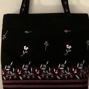 Liz Claiborne Embroidered Floral Shoulder Bag